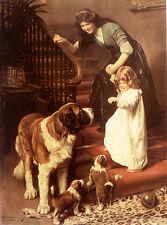 """St SAINT BERNARD & VICTORIAN CHILD DOG ART PRINT - Arthur J Elsley - """"Goodnight"""""""
