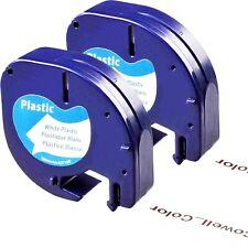 2XCompatible Dymo LetraTag 91331 S0721660 Black on White 12mm x 4M Label tape