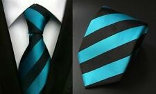 Blue and Black Striped Handmade Patterned 100% Silk Tie