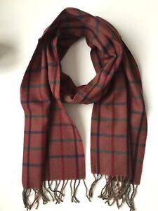 Herren Damen Schal Karo 100% Wolle 29 cm x 185 cm, Räumungsverkauf