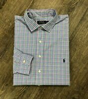 Polo by Ralph Lauren Men's 3XB Big Blue Label Button Down Shirt Blues/red/Greens