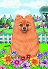 Outdoor Garden Flag Pomeranian Dog Breed Spring Colors Small Flag made Usa