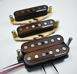 Wiggins Brand, hand wound, HSS Strat guitar pickup set, Rosewood, Texas wound