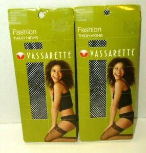 Vassarette Fashion Thigh Highs Medium Black Fishnet Set Of 2 Style #4420 Nylon