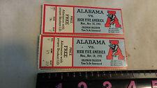 University of Alabama 1991 Ticket Stubs VS HIGH FIVE AMERICA