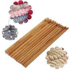 12 Size 15CM Bamboo Handle Crochet Hook Knit Weave Yarn Craft Knitting Needle Q