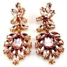 Peach Rhinestone Earrings Marie Antoinette Victorian Antique Reproduction