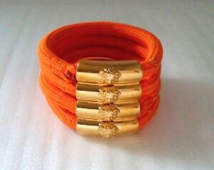 Vintage Signed VERSACE Medusa Wrapped Rubber Multi Strand Bracelet Small Size