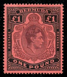 Bermuda 1938 SG121c £1 Deep Reddish Purple & Black P14 Superb U/M/M