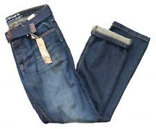 "F & F Men's Blue Jeans Waist 36"" Length 34 Regular Fit With Belt New"