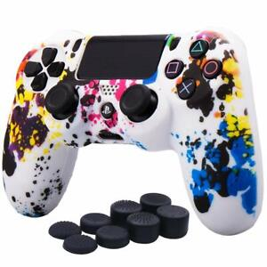 Skin Cover For Sony PS4/Slim/Pro Controller With Pro Thumb Grip x8 Camo Graffiti
