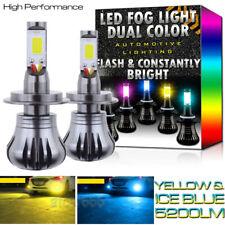 2X H7 LED DRL Fog Driving Light Bulb Dual Color Strobe Flash Yellow + Ice Blue