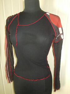 Tee shirt TOP noir voile mesh COP COPINE  T.1 36/38 Vintage 2000's transparent