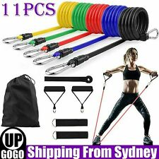 New listing 11pcs/Set Resistance Band Yoga Pilates Abs Exercise Fitness Workout Tube Bands