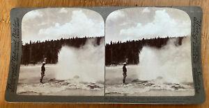 Black Warrior Geyser Steam and Spray –Yellowstone Park U.S.A. – 1904 Stereoview