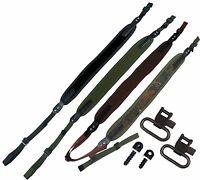 Neoprene Rifle Shotgun Sling Strap + Swivels + Wood Screw Studs Air Gun Hunting