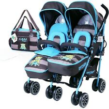 Twin Boys Double Blue Stroller Pushchair Pram Buggy inc Raincover & Bag