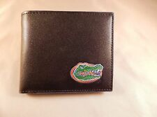 Florida Gators Mens Black With Blue Trim Leather Bi-fold Wallet