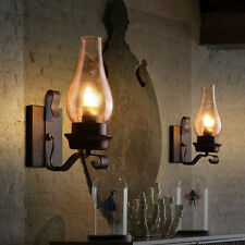 Glass Chimney Shade Wall Lamp Rustic Single light Metal Wall Sconce Chandelier