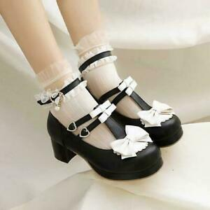 Women Sweet Mary Janes Shoe Ankle Strap Round Toe Bowknot Mid Heel Cosplay Pumps