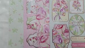 2 X A4 DIE CUT TOPPER SETS WITH PRINTED BACKING CARD- FLORAL BOUQUETS & TEA CUPS