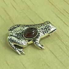Garnet 925 Sterling Silver Frog Pin Brooch Tibetan Nepalese Nepal Tibet SS08d
