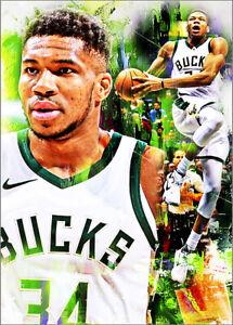 2021 Giannis Antetokounmpo Bucks 4/25 Art ACEO Green Print Card By:Q
