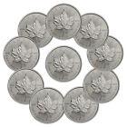 Lot of 10 - 2016 Canada 1 Troy Oz .9999 Fine Silver Maple Leaf $5 Coins SKU37996