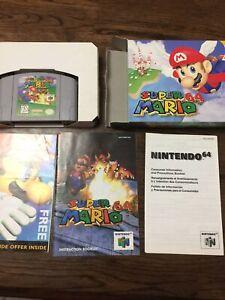 N64 Super Mario 64 Video Game w/ Box--Manual-Inserts-- Nintendo 64