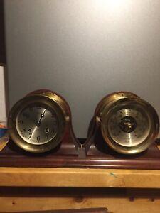 CHELSEA SHIP'S BELL CLOCK & BAROMETER SET 4-1/2 INCH BOSTON U.S.A. VINTAGE