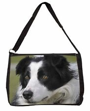 Border Collie Dog Large Black Laptop Shoulder Bag School/College, AD-BC9SB