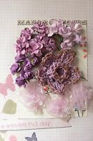 18 ROSES & 4 other Flowers - 5 Tones of ORCHID MAUVE - PAPER & SILK 20-70mm H2