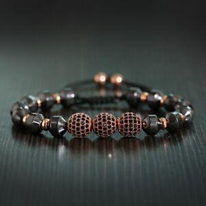 Luxury 10 MM Charm Cubic Zirconia Pave Ball Bead Braid Hematite Beaded Bracelet