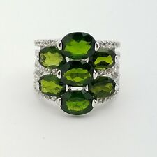 New KJC Sterling Silver 925 Oval Green Tourmaline & White Topaz Band Ring Size 5