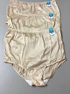 NWT Women's 3 Vanity Fair Nylon Briefs Size 9 Beige #991L
