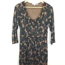 Boden Floral Midi Dress Longsleeve Womens 8 Brown and Black