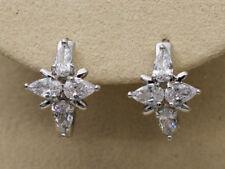 """18K White Gold Filled - Zircon Cross Teardrop """"X"""" Style Ball Women Hoop Earrings"""