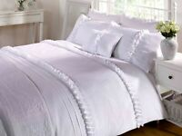 """Rapport Luxury """"Serenity"""" Ruffles Embroidered Duvet Cover Bedding Set White"""