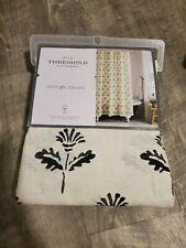 Threshold Black Cream Print Fabric Shower Curtain 72x72