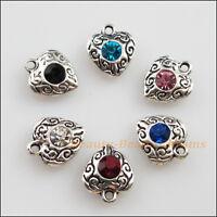 6 New Tibetan Silver Charms Mixed Crystal Heart Flower Pendants 10x11.5mm