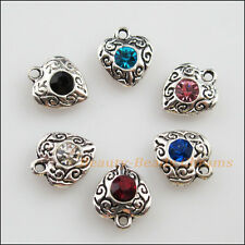 6 New Tibetan Silver Charms Mixed Crystal Heart Flower Pendants 10x11.5mm