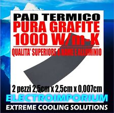 PAD TERMICO PURA GRAFITE 1000 W/m-K 2PZ 2,5x2,5cmx0,007cm PASTA TERMOCONDUTTIVA