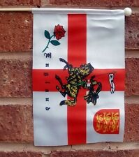 """ST GEORGE CHARGER HAND WAVING FLAG medium 9"""" X 6"""" wooden pole ENGLAND LION ROSE"""