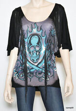 Nwt Ed Hardy SKULL Chain Fringed Top Sweater Dress Tunic Pullover ~Black *XS