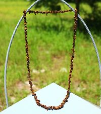 NECKLACE gemstone chips bead  tiger eye 34""