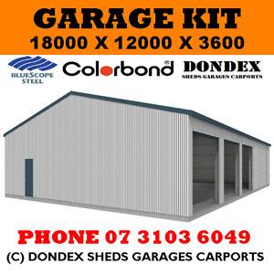 DONDEX SHEDS Large Garage Shed Kit 18x12x3.6 Colorbond Roof, Walls & Doors