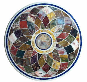 Pietra Dura White Marble Top Table Rare Inlay Antique Mosaic Collectible AZ5188