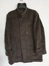 LODEN FREY 1842 Mens Wool Coat Jacket  Tartan Tweed Lining Khaki Grey L/ XL / 50