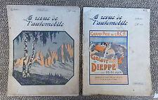 2 antichi riviste auto 1912 molto illustrati pubb. d'epoca età francese libro