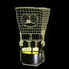 Luce Notturne Acrilico SpongeBob SquarePants Lampada LED Casa Deco Natale Gift